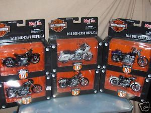 Toy Maisto 1 18 Harley Davidson Diecast Motorcycle Series 16 Set Very Good Boxes