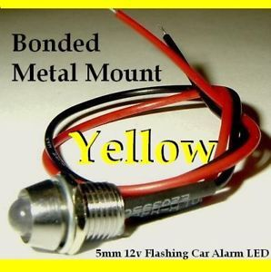 12V Yellow Flashing Dummy Fake Car Alarm LED Light Dash Mount Metal Housing
