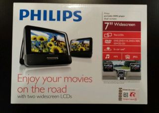 """Philips 7"""" Widescreen Portable Car DVD Player with Dual Screens PD7012 37"""