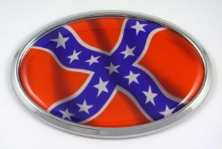 Confederate American Rebel Flag Decal Car Chrome Emblem Sticker