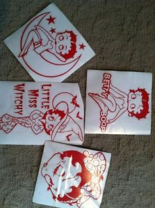 Betty Boop Car Decals Set of Four Red Lines