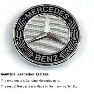 Mercedes Hood Emblem Star Delete Flat Badge Kit German Made w Laurel Logo