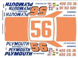 56 Jim Hurtbutise 1967 Plymouth Northside Chrysler 1 32nd Scale Slot Car Decals