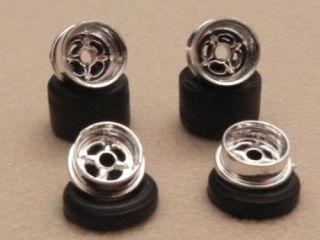 1 Set Lotus Chrome Tjet Slot Car Wheels Fits Aurora N Auto World