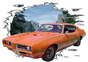 1969 Orange Pontiac GTO Judge Custom Hot Rod Mountain T Shirt 69 Muscle Cars T