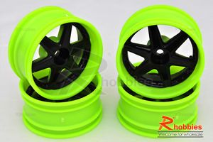 1 10 RC R C Racing Touring Drift Car 6 Spoke 9mm Drift LP26 Wheels Rims 4P G B