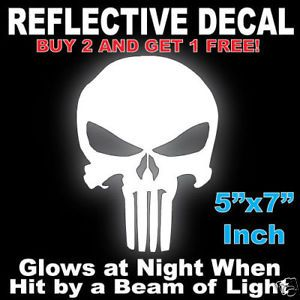 Punisher Comic Skull Reflective Car Truck Decal Sticker