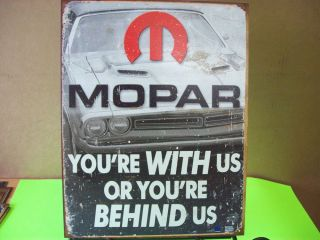 Tin Sign Mopar with US or Behind US Car Truck Garage Art Parts Accessories 1647