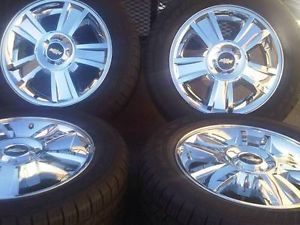 "20"" Chevy Silverado Tahoe Chrome Factory Wheels Rims Tires Hollander 5416"