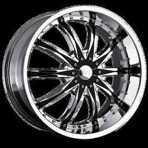 "20"" 22"" 24"" 26"" VCT Abruzzi Chrome Black Wheels Chevy Ford Dodge GMC Rims"