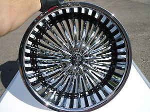 """22"""" Shooz 011 Chrome Black Wheels Rims 4 Lug 4x100 4x108 4x4 25 4x114 3 4x4 5"""