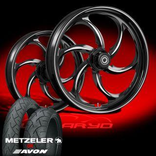 """Wanaryd Reactor Black 21"""" Wheels Tires Package Kit Set 2009 13 Harley Bagger"""