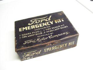 Vintage 30s 40s Ford Original Emergency Tire Bulb Repair Kit Tin Auto Accessory