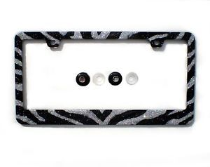 Bling Dark Silver Black Zebra Animal Print Rhinestone License Plate Frame Caps