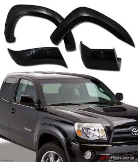 """Blk Pocket Style Front Rear Fender Flare Kit Wheel Cover 05 11 Tacoma 6"""" ft Bed"""