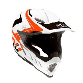Agv AX 8 EVO Klassik MX Motocross Dirt Helmet White Orange