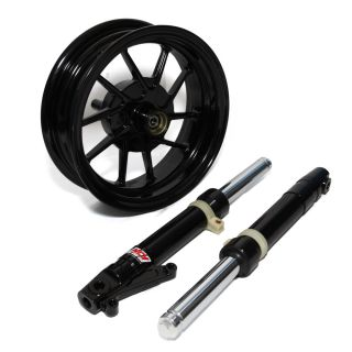 NCY Front End Kit Honda Ruckus Scooter Big 220mm Disk Brake Kit w Wheel Black
