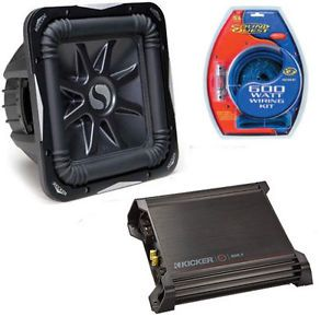 """Kicker Car Audio DX500 1 Amp Amplifier Stereo S8L7 8"""" Solobaric Sub Subwoofer"""