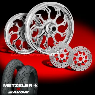 Widow Chrome Wheels Tires Rotors Pulley 2002 08 Harley V Rod 200 Tire