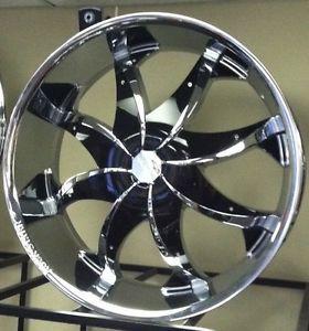 "20"" Chrome Wheels Rims Tires Pkg Black Inserts Rocknstarr 608 FWD 5x110"