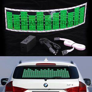 Green Car Music Rhythm LED Flash Light Sticker Sound Activated Equalizer Decor