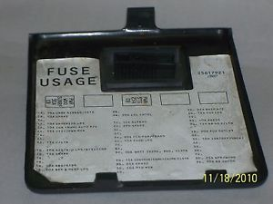 95 Buick Park Avenue Dashboard Fuse Box Cover H261
