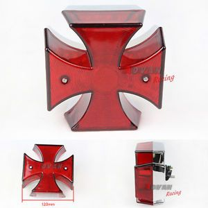Chrome Maltese Cross LED Tail Light Harley Chopper Bobber Custom Motorcycle