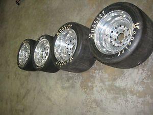 Set of 4 Duralite Racing Rims with Never Used Hoosier Racing Slicks