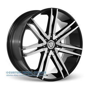 "22"" Black Rims Chrysler Chevrolet Dodge Ford Borghini B20 Wheels"