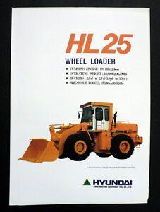 Hyundai 1993 HL25 Wheel Loader Construction Brochure