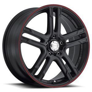 18 inch 18x7 5 Katana KR10 Black Red Stripe Wheels Rims 5x4 5 Town Car Mazda 3 5