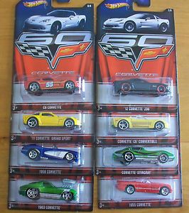 2013 Hot Wheels Wal Mart Exclusive 60th Anniversary of The Corvette 8 Car Set