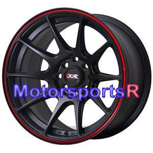 16 16x8 XXR 527 Black Red Stripe Concave Rims Wheels Stance 4x100 90 Mazda Miata