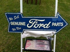 "Vintage Looking Ford Dealer Parts Dept Metal Sign"" Embossed 26""x9"" Shelby Parts"
