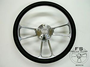 "14"" Billet Steering Wheel Black Halfwrap Set 55' Chevy Chevrolet GMC Buick"