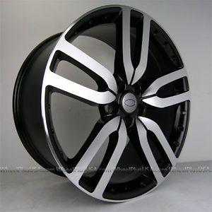 "22"" Black Machine Wheels Tires Pkg Land Range Rover Sport HSE LR3 LR4 Discovery"