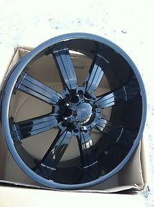 "24"" Gloss Black Wheel Tire Pkg 8x165 Hummer 8 Lug Chevy Dodge GMC 305 35 24"