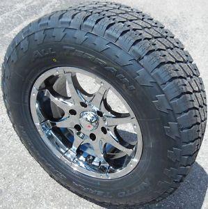 """17x8"""" Black Chrome MKW Wheels Rims Nitto Terra Tires Silverado GMC Sierra Tacoma"""
