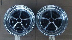 14 x 6 JK Unistyle GM Pair Chrome Rally Wheels Buick Chevy Olds Pontiac