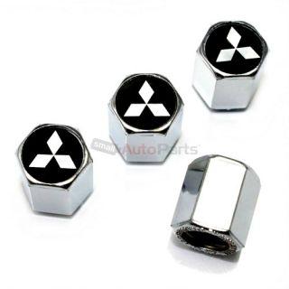 4 Mitsubishi Silver Star Logo Chrome ABS Tire Wheel Stem Valve Caps Covers