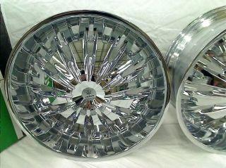 """Set of 4 24"""" x 9 5 Verde Titanio Chrome Wheels Rims V28 2495418C"""