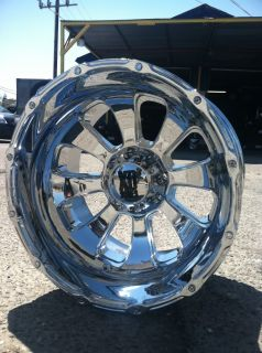 "22"" 8x170 Chrome Rims Ford Excursion F250 350 22x14 KMC XD Armour 76 mm Deep"