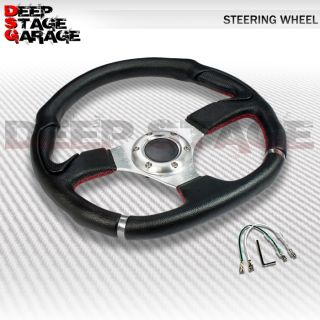 Universal Aluminum 350mm Racing Steering Wheel Black Red Stitching Silver Center