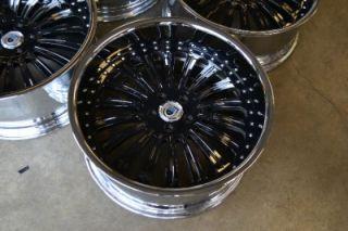 "22"" BMW 7 Series 6 Series asanti AF125 Chrome Black Staggered Wheels Rims"