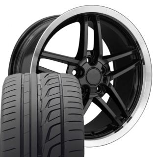 "17"" 18"" Black Corvette C6 Z06 Style Wheels Bridgestone Tires Rims Fit Camaro"