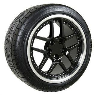 "17"" 18"" 9 5 10 5 Black Z06 Rivet Wheels Conti Tires Rims Fit Camaro Corvette"