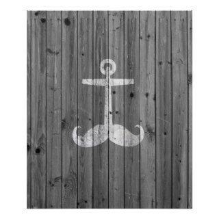 Hipster white mustache anchor on retro gray wood posters