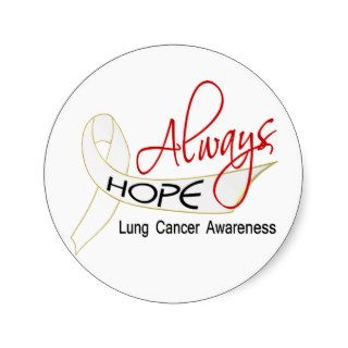 Always Hope Lung Cancer Round Stickers