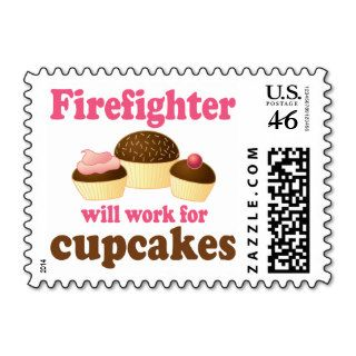 Chocolate Cupcakes Funny Firefighter Stamp