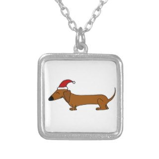 Funny Dachshund in Santa Hat Christmas Cartoon Necklace